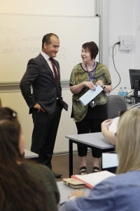 Minister for Training and Skills Steve Herbert and Deputy Premier and Member for Monbulk James Merlino have met BHI students on their first day at ox Hill Institute Lilydale Lakeside campus